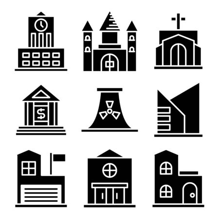building and construction icons vector set