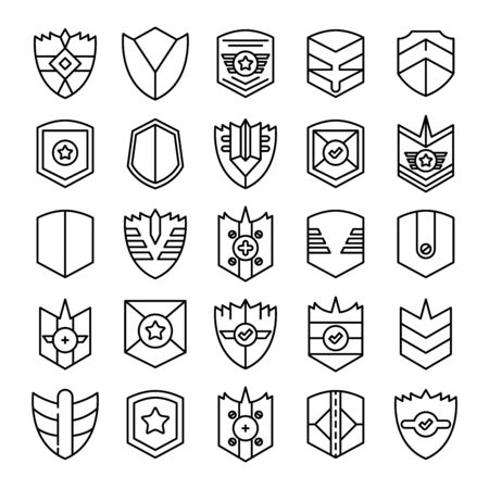 shield, badge and insignia icons set line design