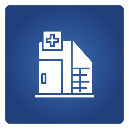 hospital icon on blue background 写真素材 - 149628322