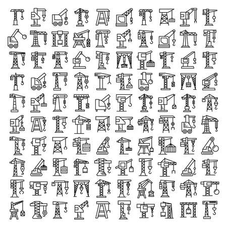big collection of crane and hoist icons set line design Vektoros illusztráció