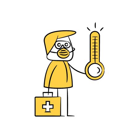 doctor holding thermometer and first aid bag yellow doodle theme