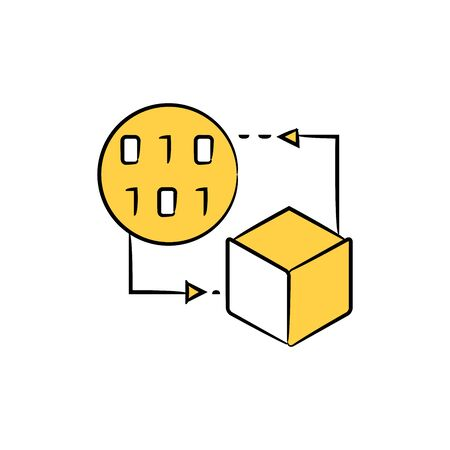 cube and binary code for block chain and network concept Ilustração Vetorial