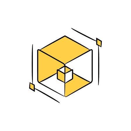 three dimension cube icon yellow theme Vecteurs