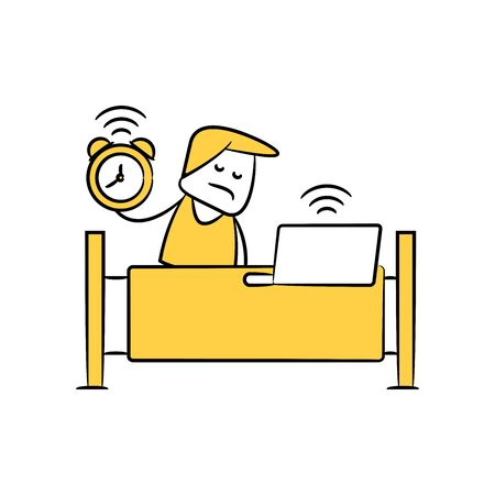 sleepy man and alarm clock working from home yellow doodle theme