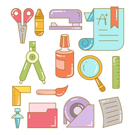stationery and school supply icons set 向量圖像
