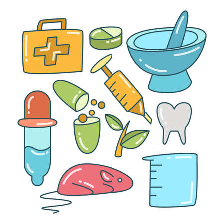 medical and medicine concept icons set color theme