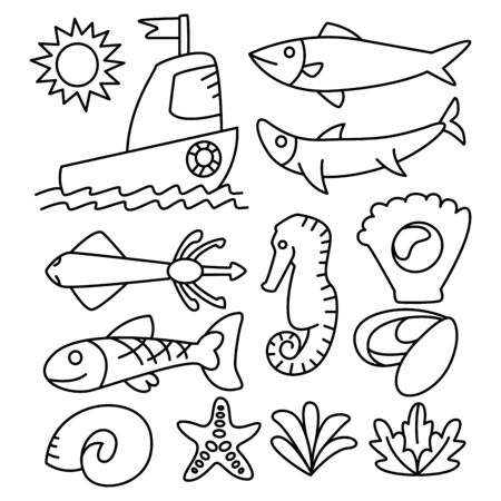fish, marine and ocean life concept line design theme