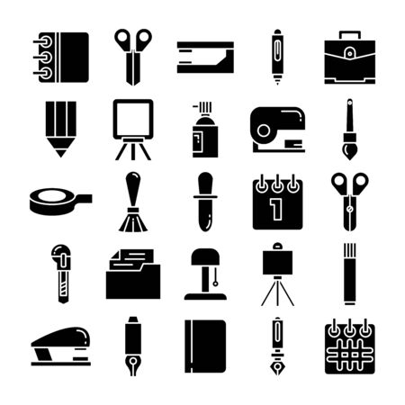 stationery and office supply icons set glyph design