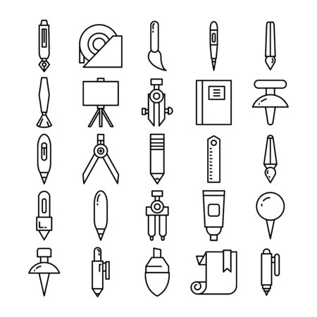 stationery and office supply icons set line design Illustration