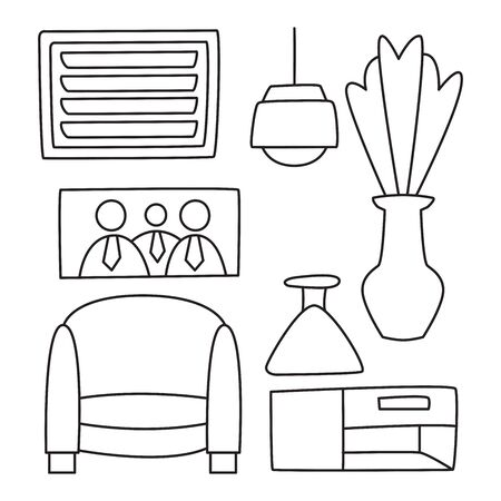 furniture and home decoration hand drawn line theme Stock Illustratie