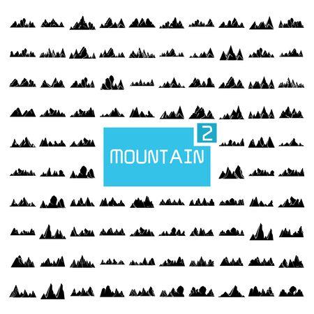 mountain range silhouette vector illustration set