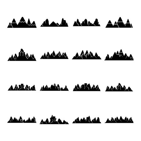 silhouette mountain range icons vector illustration