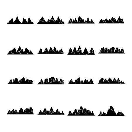 silhouette mountain range icons vector illustration