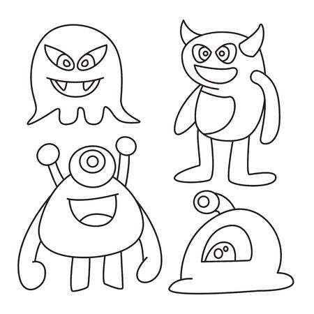 doodle funny monsters line design theme