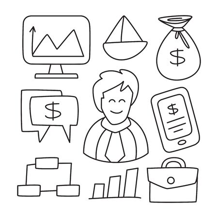 finance, investment and business doodle hand drawn design theme