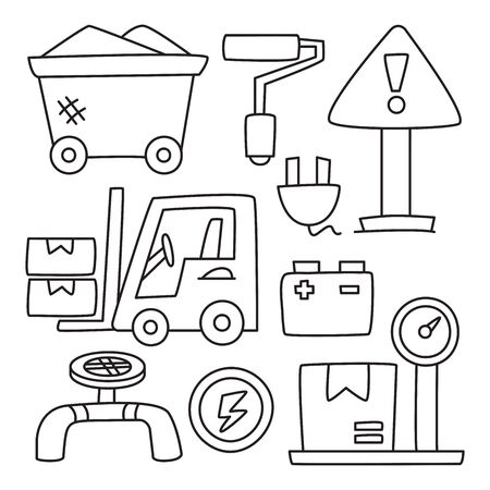 industry and construction icons hand drawn doodle line design