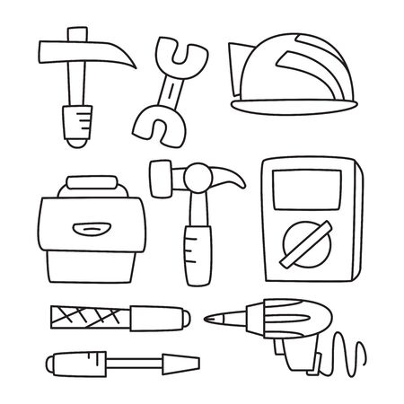 tool and equipment icons  hand drawn doodle line design