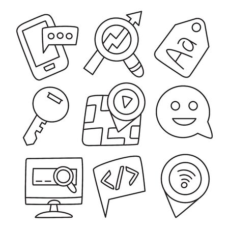 web and seo icons hand drawn doodle line