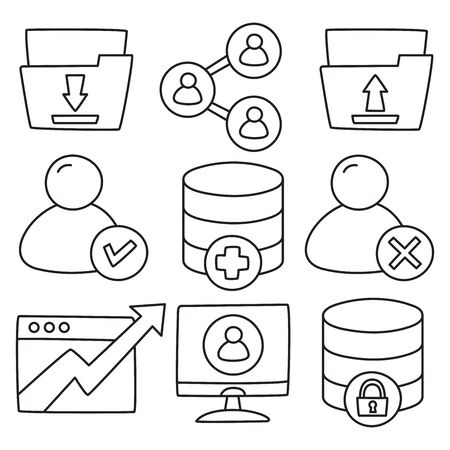 network and web icons hand drawn doodle line