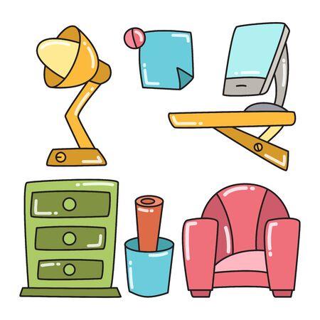 office space furniture and interior decoration color design theme Stock Illustratie