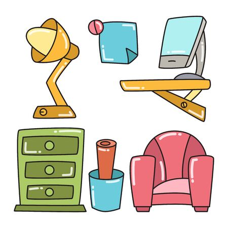 office space furniture and interior decoration color design theme Illustration