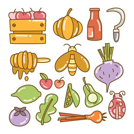 farm product and vector elements color doodle line theme Ilustracja