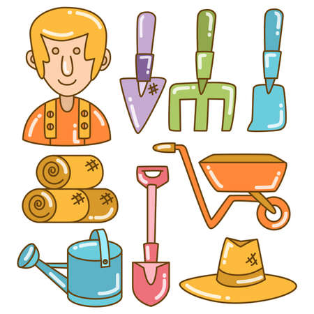 farm and equipment vector elements color doodle line theme