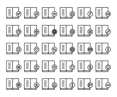 textbook and document icons line set
