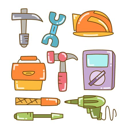 tool and equipment icons color doodle line design 일러스트