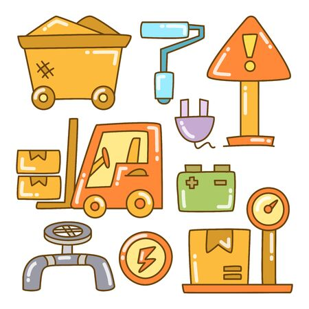 industry and construction icons color doodle line design