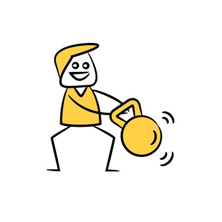doodle man working out with dumbbell yellow stick figure theme