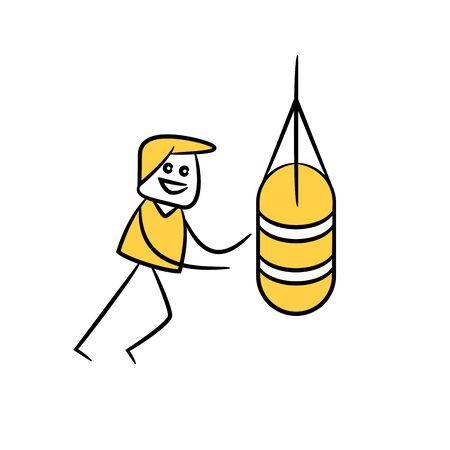 man punching sandbag yellow stick figure theme 일러스트