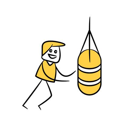 man punching sandbag yellow stick figure theme Illustration