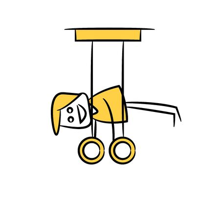 man doing gymnastic sport, yellow stick figure theme