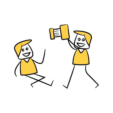 photographer and camera yellow stick figure theme