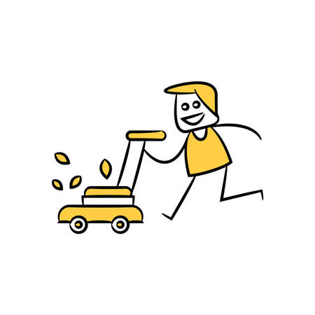 gardener running with a lawn mower and cutting grass yellow doodle theme