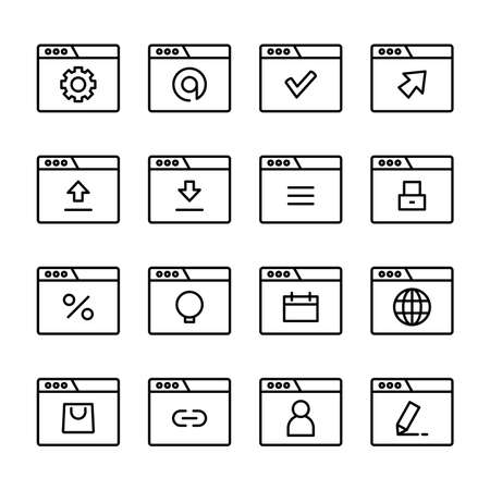 web user interface icons set line design