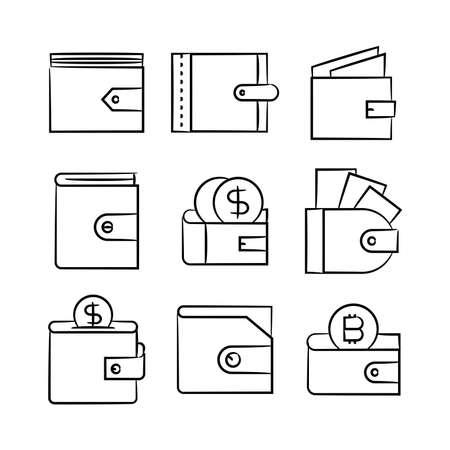 hand drawn money wallet icons set Vecteurs