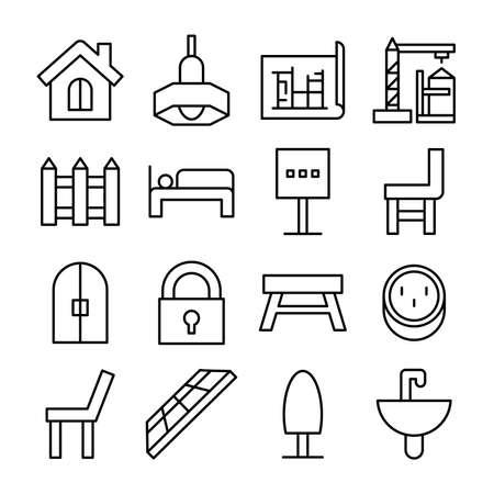 home furniture icons line vector illustration Ilustración de vector
