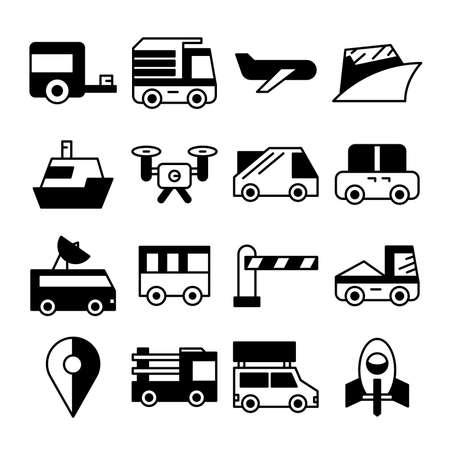 vehicle and transportation icons vector set Ilustração