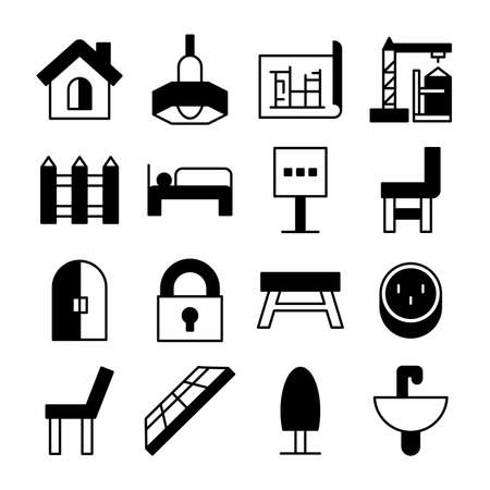 home furniture icons vector illustration