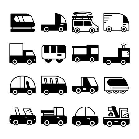 car and transportation icons vector set