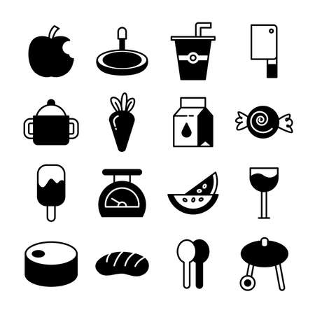 food and desserts icons vector