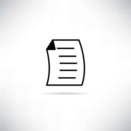 document icon with shadow on gray background vector Ilustração