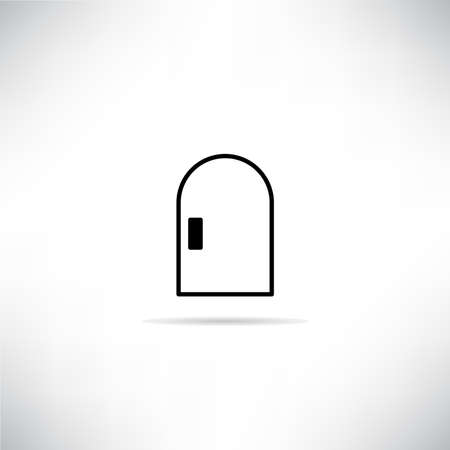 closed door icon with shadow on gray background vector
