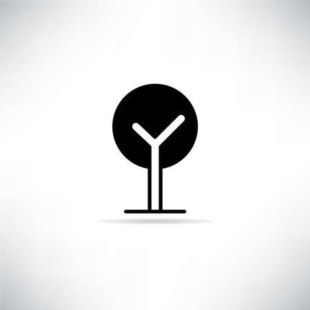 tree icon with drop shadow vector illustration