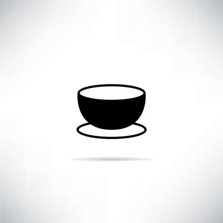 tea or coffee cup icon vector illustration with shadow