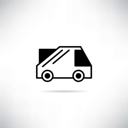 pickup truck icon with shadow on gray background vector