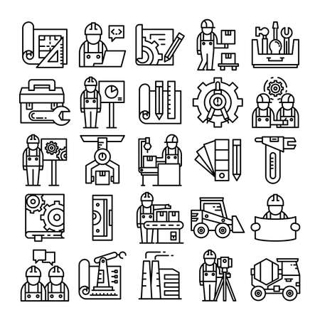 engineer and construction line icons