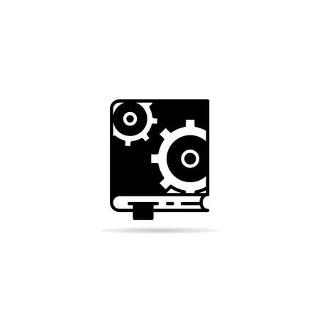 manual book and gears icon vector illustration